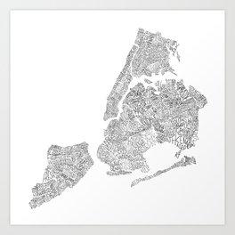 New York City Boroughs - Hand lettered map Art Print