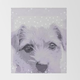 Curious little dog waiting for you - funny dog portrait Throw Blanket