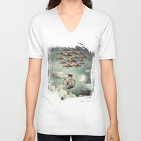 karu kara V-neck T-shirts featuring The Rose That Wanted to See the World by Paula Belle Flores
