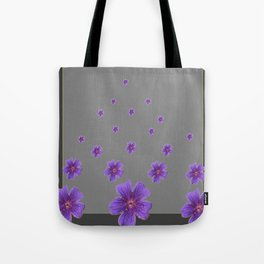 PURPLE FLOWERS COLLAGE CHARCOAL GREY Tote Bag