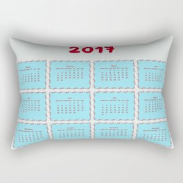 2017 year calendar design with decorative doodle elements Rectangular Pillow