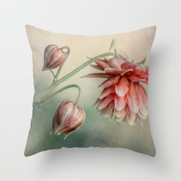 Delicate red columbine flower Throw Pillow