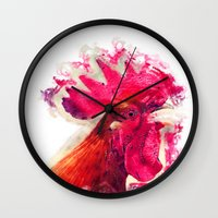rooster Wall Clocks featuring Rooster by jbjart
