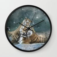 tigers Wall Clocks featuring Tigers by Julie Hoddinott