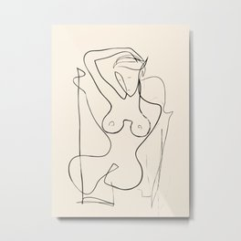 Abstract Minimalist Nude Woman III Metal Print