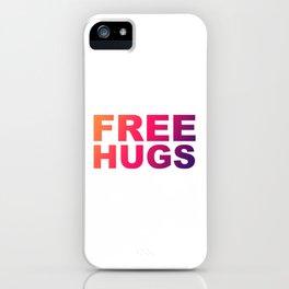 Free Hugs Typography - Minimal - Graphic Design Orange, Pink, Purple Gradient Lettering  iPhone Case