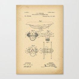 1897 Patent Bicycle saddle Canvas Print