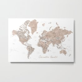 Adventure Awaits, brown watercolor world map with US state capitals Metal Print