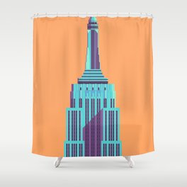 Empire State Building New York Art Deco - Orange Shower Curtain