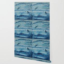Sharks in deep blue Wallpaper
