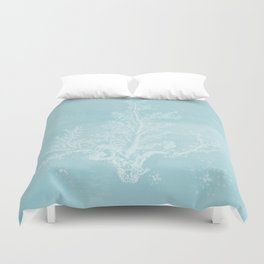 White Coral on Pale Blue Duvet Cover