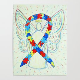 Autism Puzzle Piece Awareness Ribbon Angel Art Painting Poster