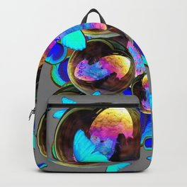 BLUE & GOLD  BUBBLES BLUE BUTTERFLIES PEACOCK EYES Backpack