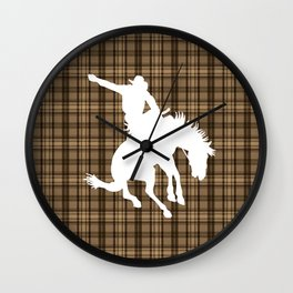 Cowboy and Bronco Plaid Wall Clock