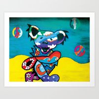 grateful dead Art Prints featuring Grateful Dead Bear Blue by Chelsea Kalman Art