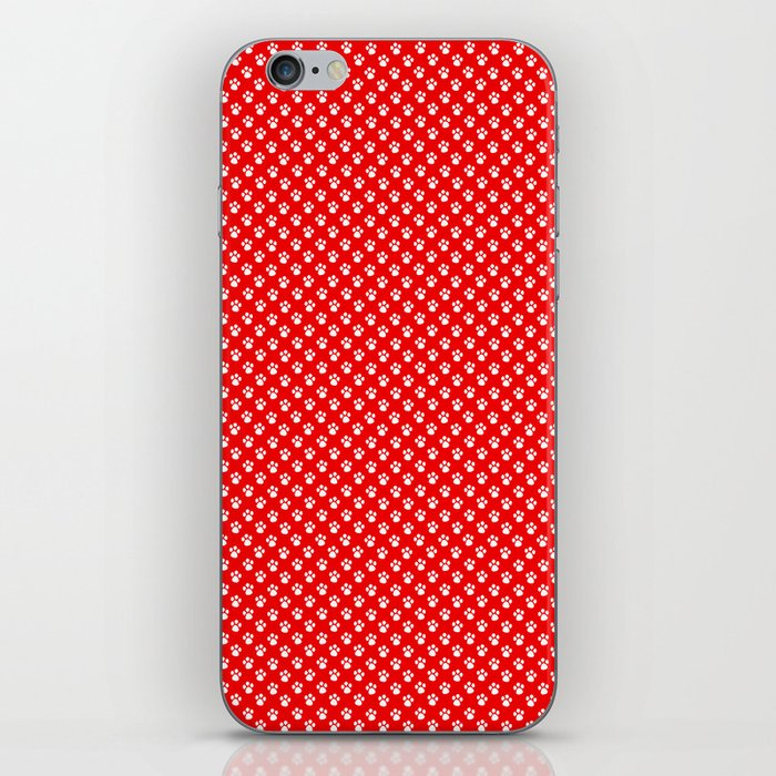 Tiny Paw Prints Pattern - Bright Red & White iPhone Skin