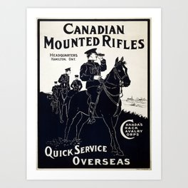 Vintage poster - Canadian Mounted Rifles Art Print