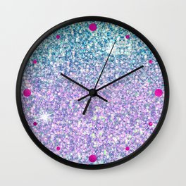 Blue & Lilac Mermaid Glitter Ombre Wall Clock