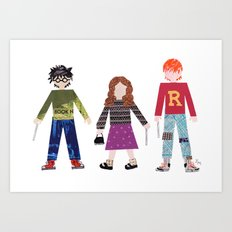 Harry, Hermione, and Ron Art Print