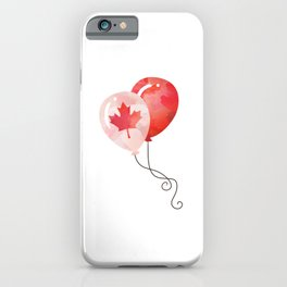 Canada Lover Canada Balloon Canadian People Maple Leaf Heart graphic iPhone Case