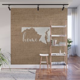 Maryland is Home - White on Burlap Wall Mural