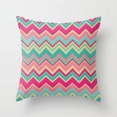 Aztec chevron pattern- pink & cream Throw Pillow