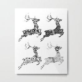 Ornamental Deers Metal Print