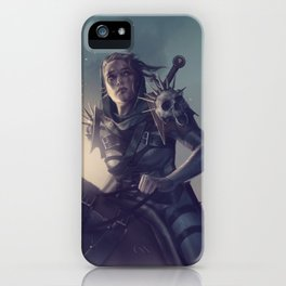 Roe sitting on a horse BLUE iPhone Case