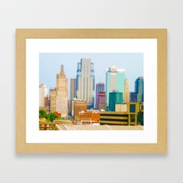 Downtown Kansas City Skyline Tilt Shift Photograph Framed Art Print