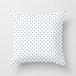 Polka dots Blue dots over white Throw Pillow