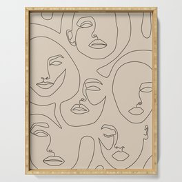 Faces In Beige Serving Tray