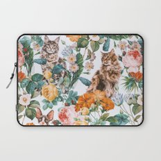 Cat and Floral Pattern III Laptop Sleeve