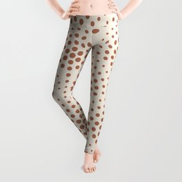 Cavern Clay SW 7701 Polka Dot Scallop Fan Pattern on Creamy Off White SW7012 Leggings