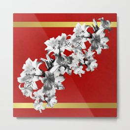 Lilies, Lily Flowers on Red Metal Print