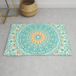 Orange and Turquoise Clarity Mandala Rug