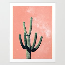 Pink Cactus Boho Mexican Art Print