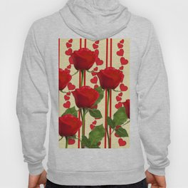 YELLOW SCARLET ROSES & RED VALENTINE HEARTS Hoody