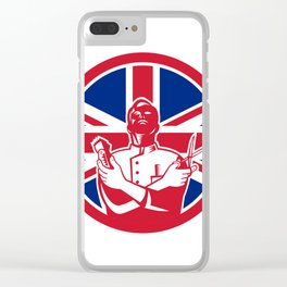 British Barber Union Jack Flag Icon Clear iPhone Case