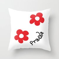 wallet Throw Pillows featuring Inspired PRADA wallet *White and Red Flower* by art_146