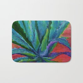 WESTERN DESERT BLUE AGAVE CACTUS in  RED-TEAL Bath Mat