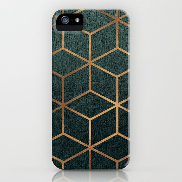 Dark Teal and Gold - Geometric Textured Gradient Cube Design iPhone Case