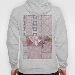 Soft Rose, Cream & Soft Gray, Silver Gray Tiles / Collage Hoody