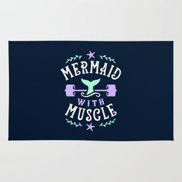 Mermaid With Muscle Rug