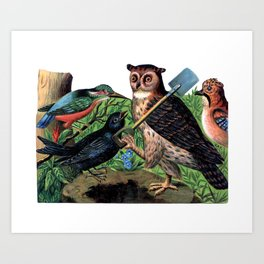 Vintage Owl with Shovel Art Print
