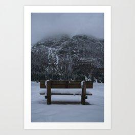 Lone Bench At Lago del Predil Italy Art Print