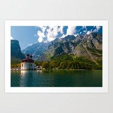 Outdoors, Church, Alps Mountains, Koenigssee Lake on #Society6 Art Print