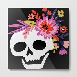 White Skull Bouquet Metal Print