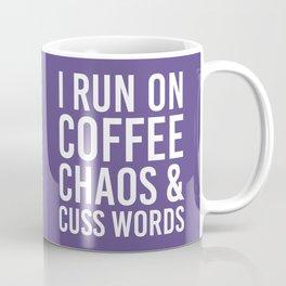 I Run On Coffee, Chaos & Cuss Words (Ultra Violet) Coffee Mug