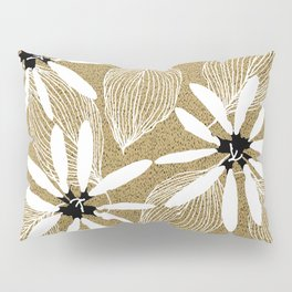 Large White Forest Flowers and Leaves on Beige Sand #decor #society6 #buyart Pillow Sham