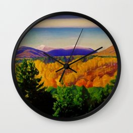 Autumn Mountain Landscape & Orchards by Rockwell Kent Wall Clock